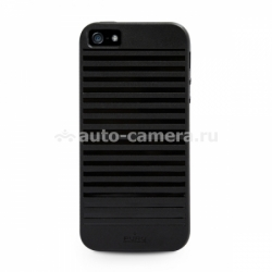 Силиконовый чехол на заднюю крышку iPhone 5 / 5S PURO Easy Chic Geometric Stripes Cover, цвет black (IPC5GEO2BLK)
