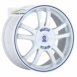 Диск Sparco 7x16 4x100 ET37 D63,3 Rally White + Blue Lip